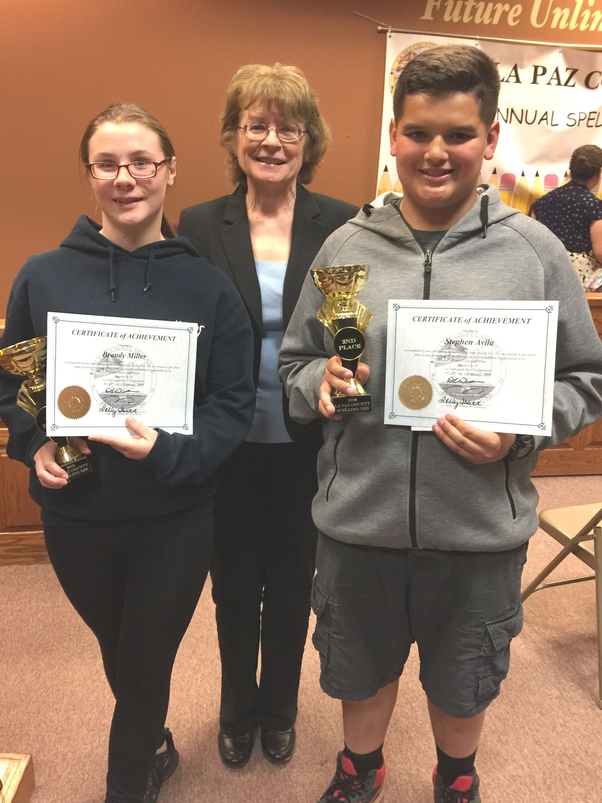 Photo of 2018 County Spelling Bee Winner and Runner-Up
